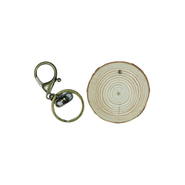 Boomstamschijf sleutelhanger voor aan je sleutel