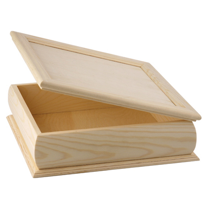 Doosje met scharnierdeksel vierkant van hout om te graveren met brandpen