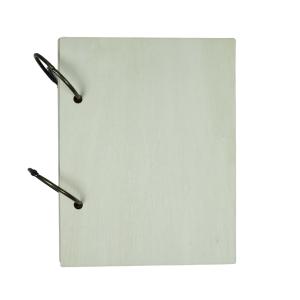 Notitieboek L met houten omslag voor houtbranden of graveren met brandpen