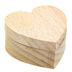 houten juwelendoosje hart voor houtbranden of graveren met brandpen