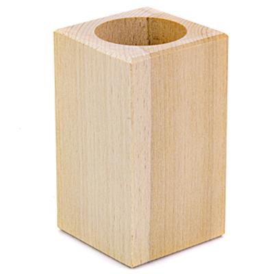 Wachinelichthouder van hout voor houtbranden of graveren met brandpen