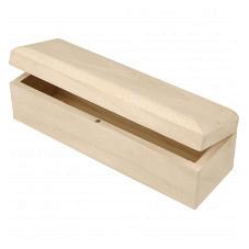 langwerpige doos met magneetsluiting van hout voor houtbranden of graveren met brandpen
