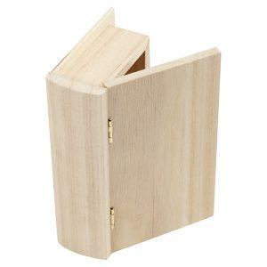 Houten doosje in de vorm van een boek voor houtbranden of graveren met brandpen