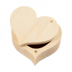 Doosje hartvorm met draaisluiting voor houtbranden of graveren met brandpen