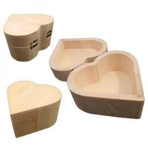 Houten hart doosje met scharnier voor houtbranden of graveren met brandpen