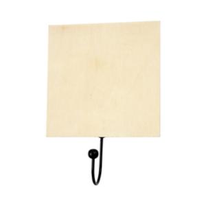 Zwarte ophanghaak met wandbordje voor houtbranden of graveren met brandpen