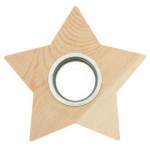 Houten waxinelichthouder ster voor houtbranden of graveren met brandpen